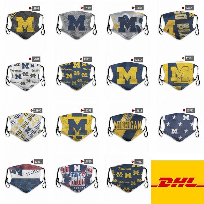 Маски NCAA Alabama Crimson Tide Мичиганского университета Велоспорт лица моющийся многоразовый Регулируемая партия спорта на открытом воздухе пыленепроницаемый хлопок маска