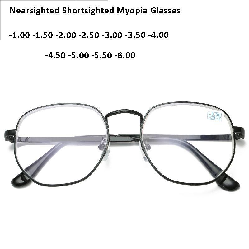 Tam Alaşım Çerçeve Gözlük Erkekler Kadınlar Yuvarlak Miyop Gözlük Kaplı Vintage Büyük Miyop Gözlük -1,0 -1,5 -2,0 -2,5 -3,0 -3,5 -4,0