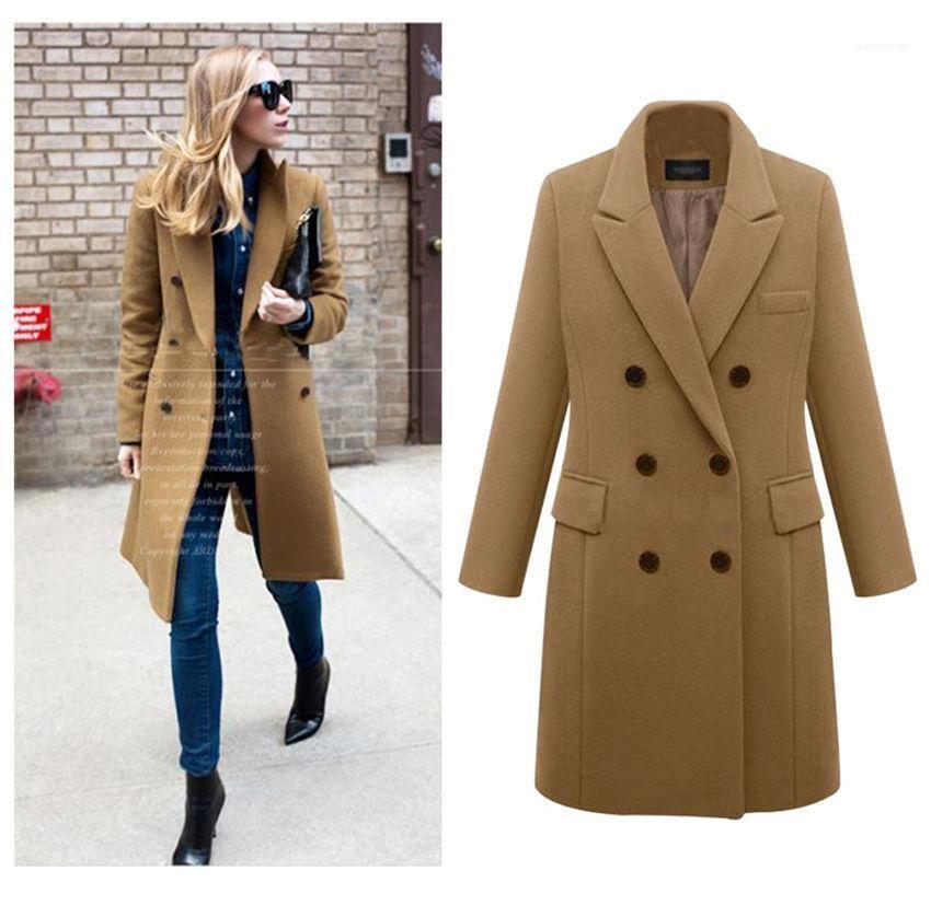 Autunno a maniche lunghe risvolto collo spesso tuta sportiva delle signore lunga casuale donna cappotti pelliccia del Faux delle donne di miscele di inverno dei cappotti