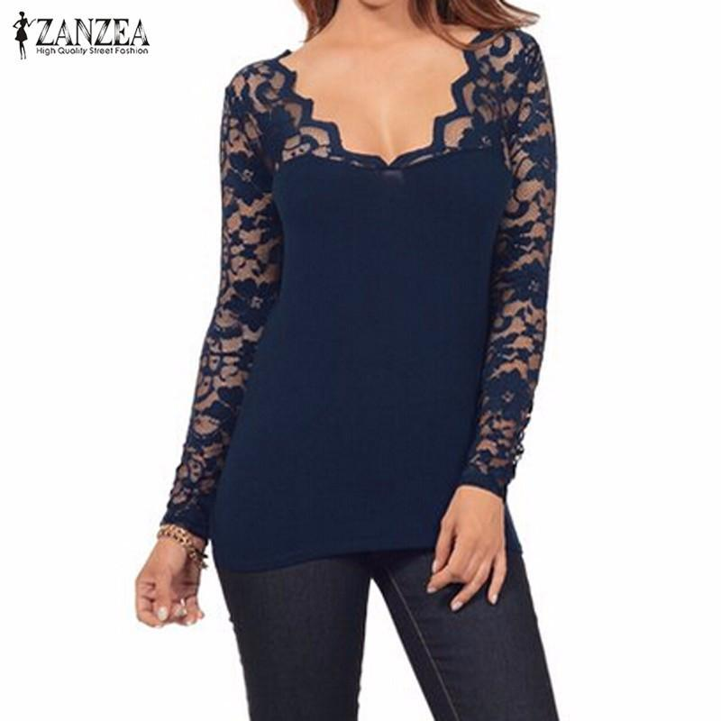 ZANZEA 2020 Autumn Women Lace Crochet Shirts Stretch Sexy V Neck Blouses Long Sleeve Top Casual Blusas Femininos Plus Size S-5XL Y200827