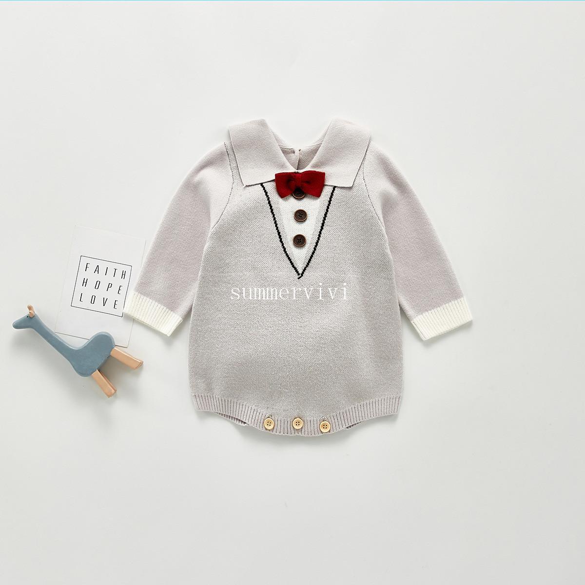 Infante Recién Nacido Bebé Chicos Caballero ropa arco Mameluco Camisa Mono Traje Conjunto