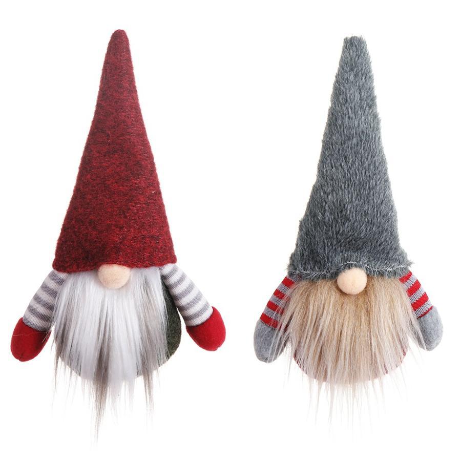 Navidad hecha a mano sueca Gnomo escandinavo Tomte de Santa Nisse nórdica felpa muñeca Elf juguete de la tabla del ornamento del árbol de Navidad Decoración JK1910