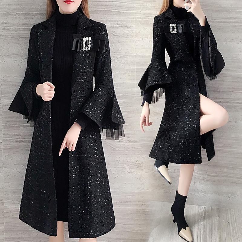 Coupe-vent de noir Woollen Femmes Long Manteau Femme Trench vêtements à la mode mince pour les femmes Casaco Feminino Raincoat