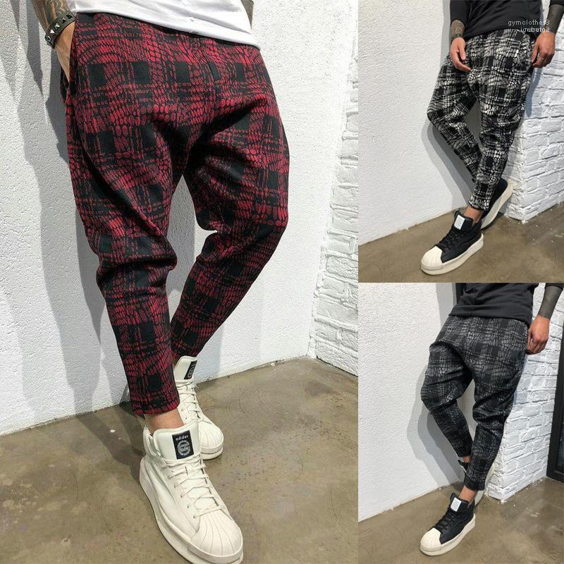 Мужчины Новые брюки Пледы Дизайнерские Длинные брюки карандаш Повседневный Спорт Pant Fall Осень