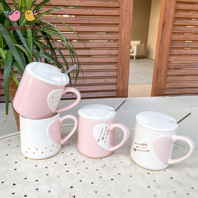 450ml Cupid's Arrow Lovely Sweet Heart Love Theme Coffee Mugs Wholesale For Girls Party and Love Gift