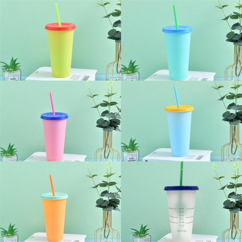 Purity Color Changing Clear Cups Suction Tubes Pp Plastic Tumbler Round With Lid Coffee Mug Temperature Sensing Reusable Sports 5hb B2