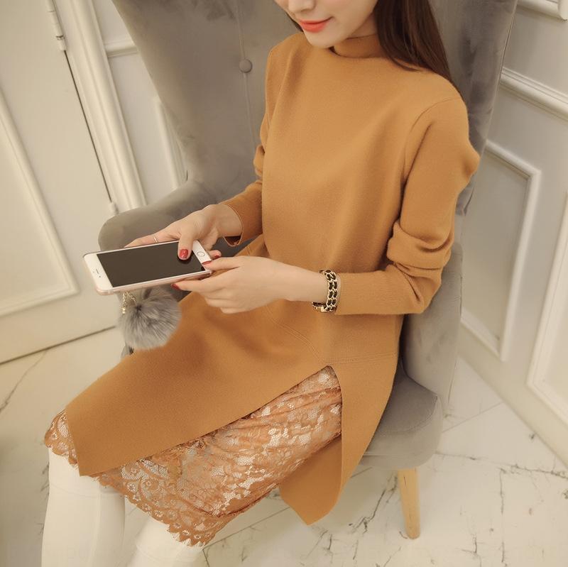 2020 autunno e inverno nuova maglia che basa il pullover allentato abito camicia del pullover dolcevita mezzo abito di pizzo di lunghezza media delle donne maglione XND4a