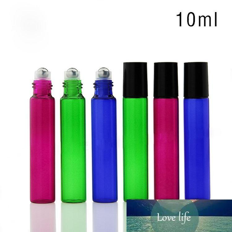 700pcs 10ml Colorful Glass Roller Bottles with Metal Roller Ball Black Lids for E Juice E Liquid Oil Perfume Free DHL