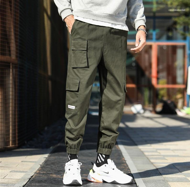 Casual 2020 Loose Fashion Lacing Street Style Homme Pants With Multi Legged Pockets Pants Mens Designer