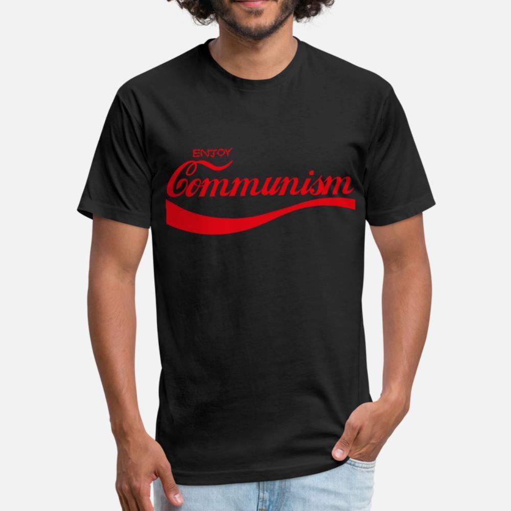düz renk Kırışıklık Karşıtı Yeni Stil yaz Yenilik gömlek 3XL Komünizm t gömlek erkekler Tasarım pamuk artı boyutu Enjoy