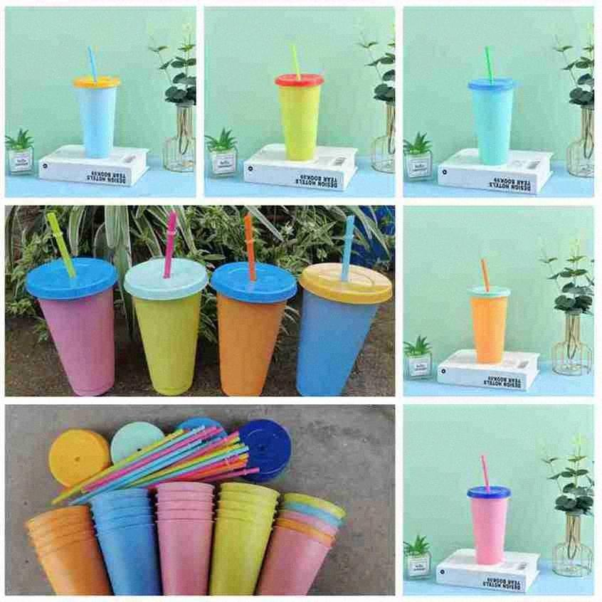 Temperatura magica cambiano colore tazze colorate fredda acqua di colore Modifica bottiglie Bicchieri tazza di caffè tazza d'acqua con cannucce ZZA2344 mlZr #