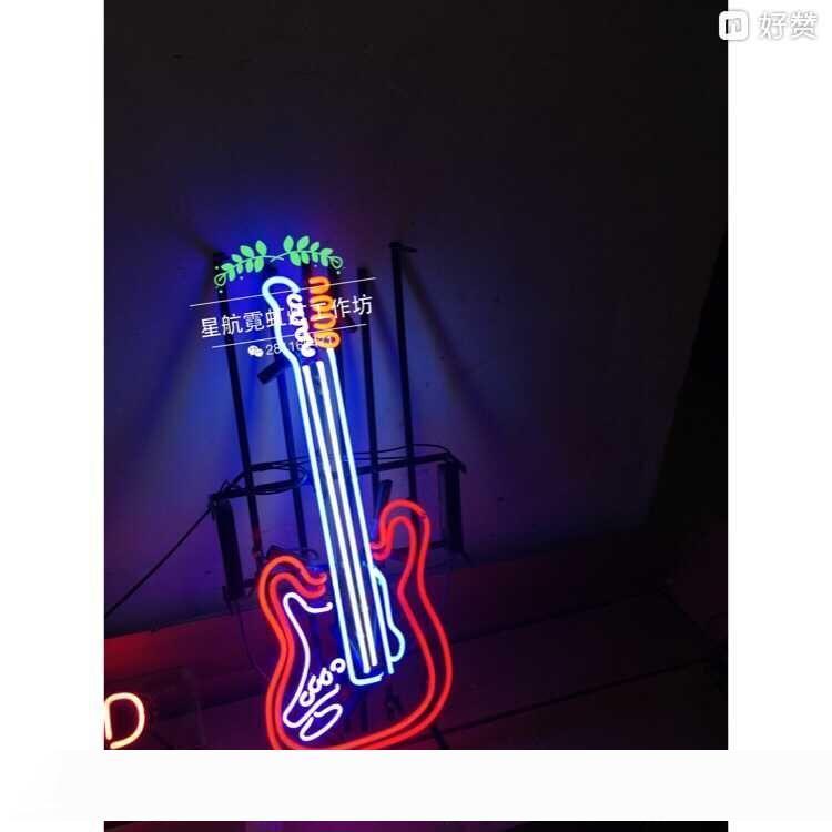 ضوء النيون تسجيل. علامة LED الغيتار الموسيقى النيون البيرة تسجيل شريط تسجيل ريال زجاج ضوء النيون 60CM * 23CM