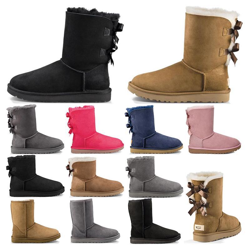 2020 جديد أستراليا النساء فتاة الكلاسيكية الثلوج الكاحل قصيرة القوس الفراء التمهيد لشتاء أسود الكستناء النساء أحذية حجم 36-41 الأزياء في الهواء