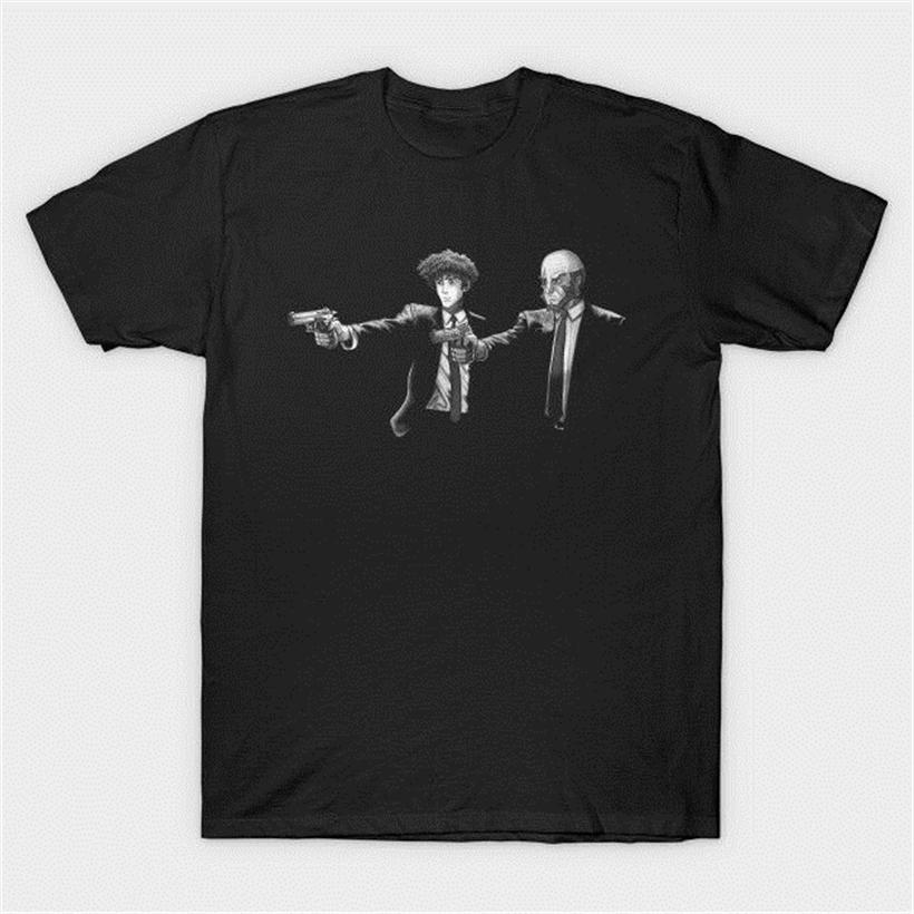 Pulp Fiction X Cowboy Bebop Jet noir et Spike Spiegel T-shirt noir rond de style T-shirt