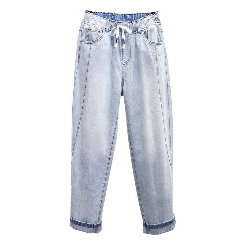 Повседневных шаровары высокой талии джинсы Женщина Boyfriend джинсы для женщин голеностопного Длина Мама Cowboy джинсовых брюк плюс размера 5XL