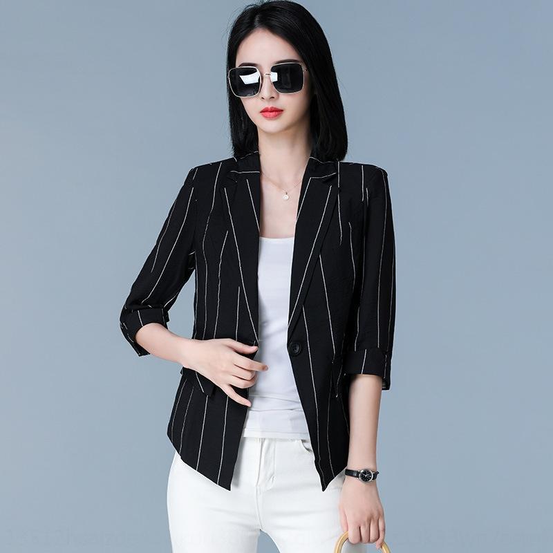 CZTbM лето семь четверть British 2020 новых малых профессиональных женщин Приталенный костюм рукав пальто полосатый тонкий слой