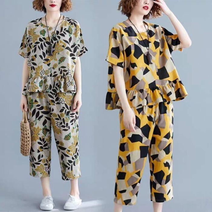 2020 estate nuova maglietta allentata grandi casuali Top pantaloncini maglietta delle donne di formato superiore a due pezzi pantaloncini a gamba larga adatta il vestito