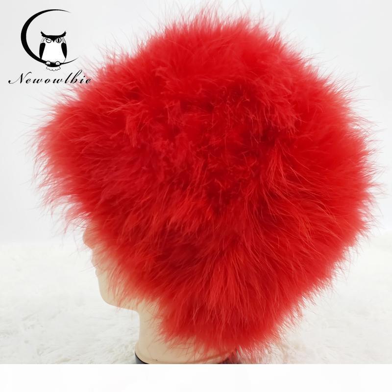 2019 New Natural avestruz pavo pelo del sombrero del cabello real sombrero de piel de invierno caliente capo liberan la ropa de las mujeres