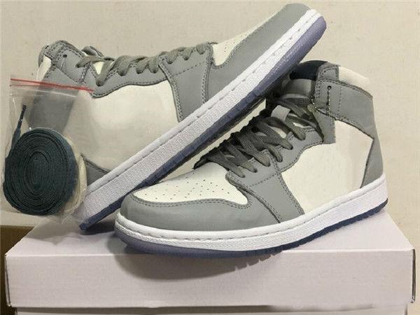 venda quente com a caixa + X de alta qualidade 1 alto cooperação das sapatilhas cinzentas moda branca preta tênis Zapatos
