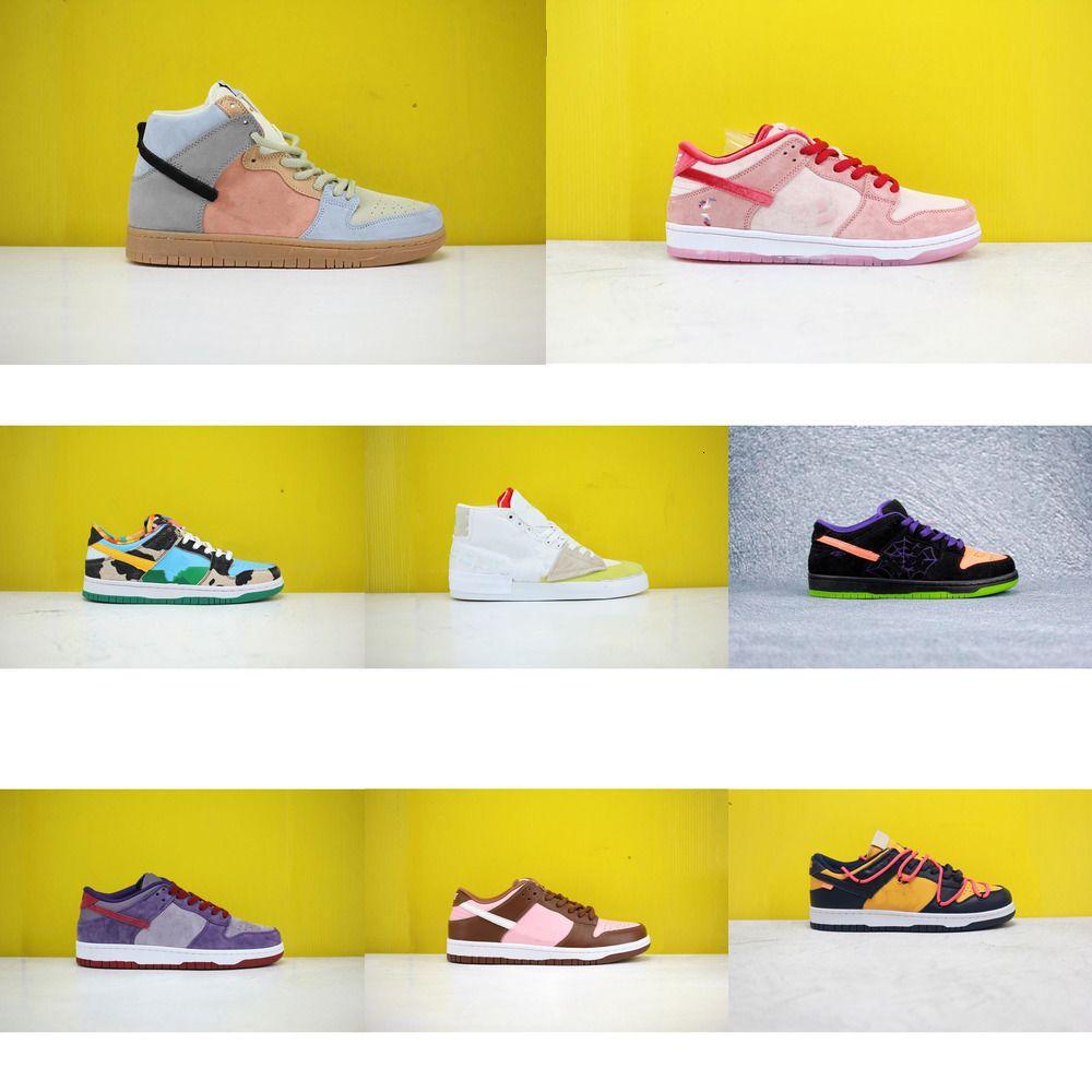 2020SS zapatos nuevos colores para hombres, mujeres, zapatillas de deporte SB Dunk juventud blanca verde amarillo bajo alta estudiante corriendo lujo informal 0YV1 4sgm