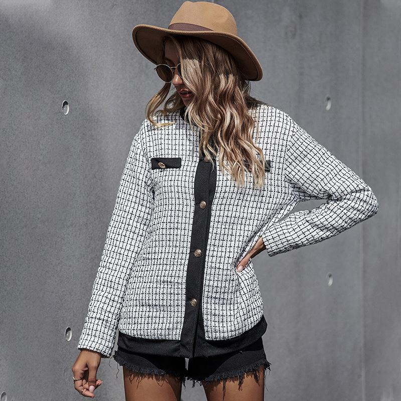 MOVOKAKA 패션 숙녀 격자 무늬 코트 여성 겨울 여성 재킷 플러스 사이즈 싱글 자켓 여성 캐주얼 여성 코트 가을 T200814
