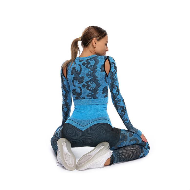 2PCS Camo transparente Yoga Set Vêtements de sport Femmes Fitness Sport Soutien-gorge camouflage taille haute GYMNASE Pantalon Caleçon leggins Suit Fitness