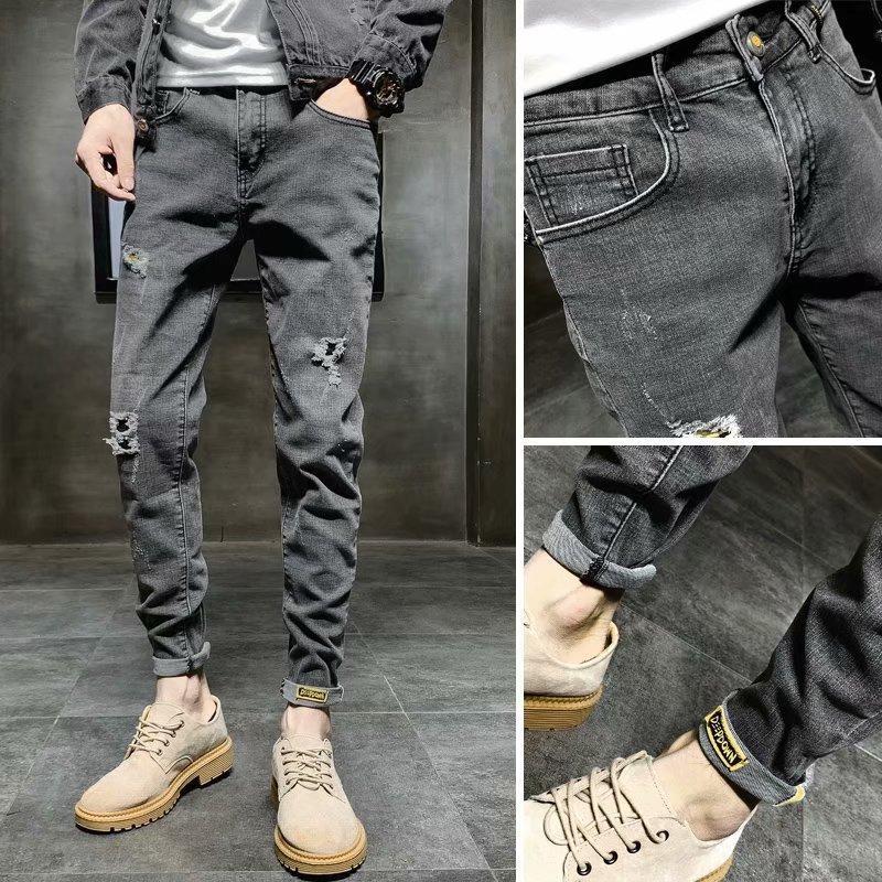 Großhandel 2020 Mode Hip-Hop-Straße Fracht dunkelgrau gewaschen Nicht-Eisen Baumwolle homen der Mitte der Aufstieg der Männer Teenager Skinny Jeans T200827 zerrissen