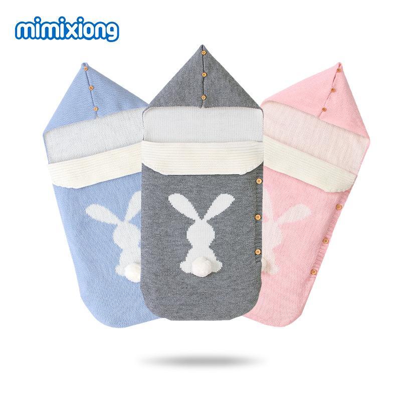 Детские спальные мешки Коляски Cute Rabbit Knittted Новорожденный пеленать Wrap сна Мешки 0-6Months Infant Bebes Конверты Footmuff Теплые 200928