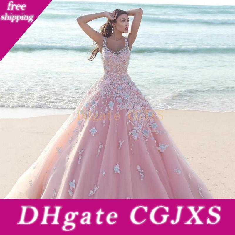 2018 Baby Pink Arabic Ball Gown Quinceanera Dresses Scoop Neck 3d Flowers Lace Applique Spaghetti Puffy Long Tulle Party Prom Evening Gowns