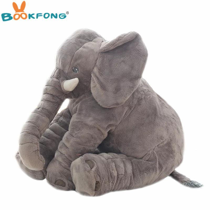 40cm / 60cm grande de la felpa de la muñeca de elefante niños durmiendo suavemente trasero del amortiguador relleno lindo del bebé del elefante Acompañar muñeca de Navidad LJ200810 regalo