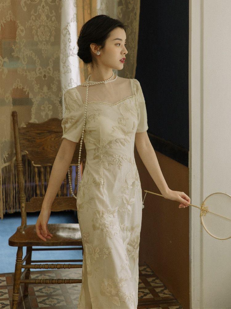 z4sF2 francesa bordado cheongsam cheongsam vestido modifica el vestido de hadas de hadas Súper Mori chicas jóvenes pueden llevar a diario