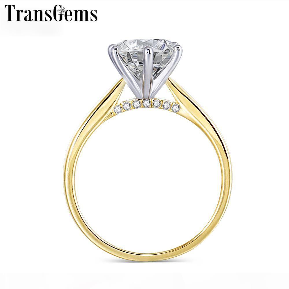 Transgems 14K dos tonos 585 Anillo de compromiso Moissanite de Oro al Centro de Mujeres color F VVS anillo de oro 2ct 8mm Moissanite con acento C18122801