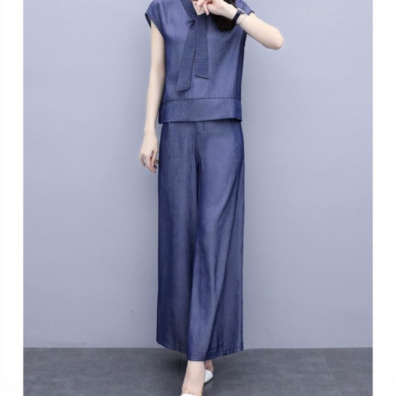 iChzJ SNuYU koreanische Art und Weise Tencel Denimklage 2020 der Frauen neuen Sommerartsatz fashi Beinhosen Temperament Schlankheits breite Beinhosen zweiteiliger Anzug