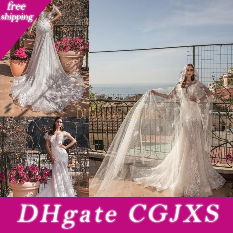 3d -FLORAL apliques vestidos de casamento com filme Mermaid Cascading Ruffles Poeta manga curta V profundo Sheer Neck vestidos de noiva vestido de corte Train