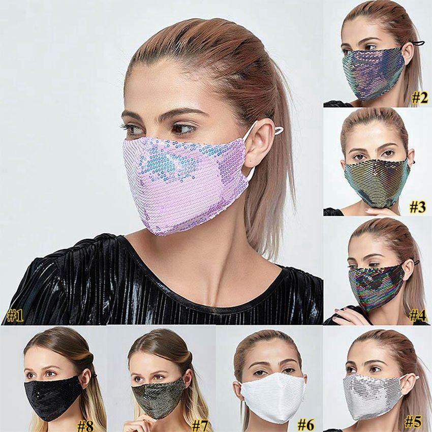 Bling Bling Sequin маски для лица весна лето Открытого Suncreen Anti-Dust дышащего моющейся маски для лица многоразовых крышек рта DHF161