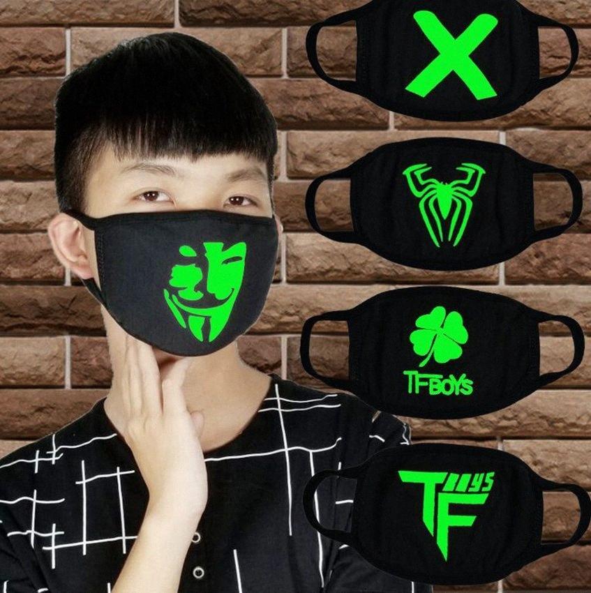 Schwarz Luminous Gesichtsmaske Skeleton Reit Baumwolle Gesicht Schwarz für einen Mann eine Frau Anti-Staub-Glühen Mund-Maske dunkel in der Nacht Cosplay KKA7852 UMV8 # maskieren