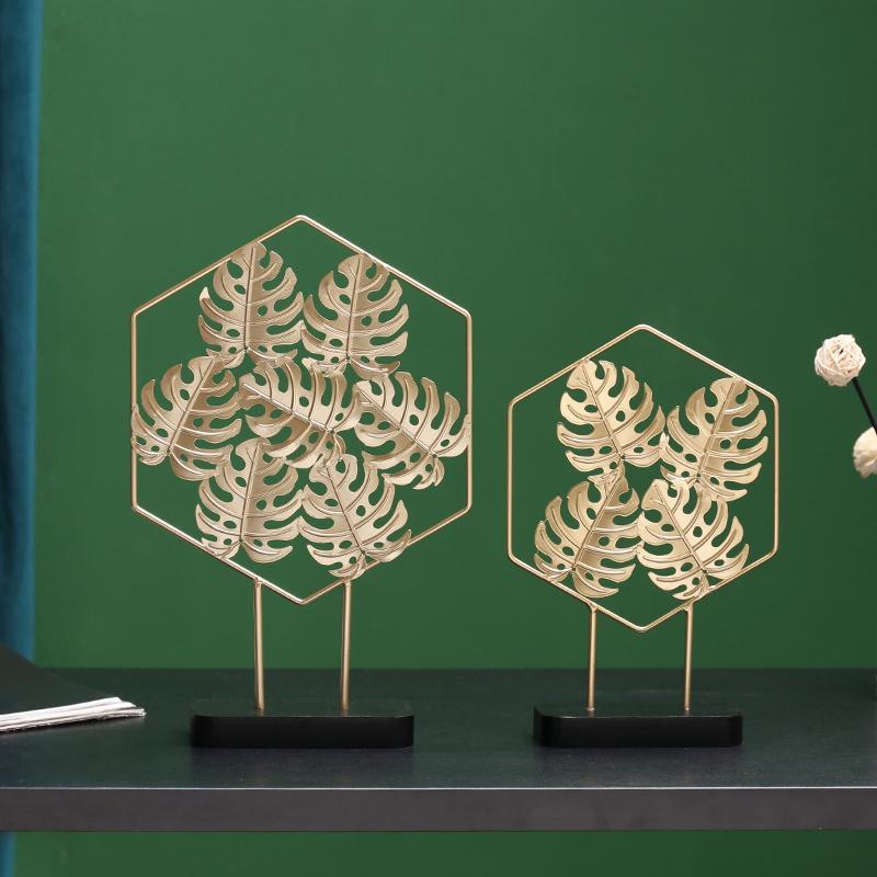 Vino de lujo de oro nórdico Ginkgo Crafts Artesanía luz del gabinete pórtico casero decoración de escritorio adorno de artículos de equipamiento de regalo