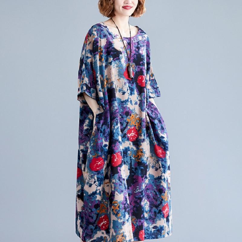 Fat MM Femmes Robe Robe Casual Robe Été Nouveau Ventilateur littéraire Élégant Coton et Linge Impression du ventre Vieux Vieillissement Robe minceur
