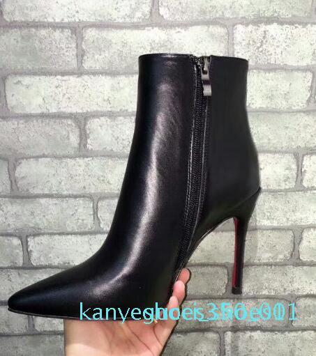 Горячая черная кожа с шипами заостренные пальцы ножки Женские ботильоны моды дизайнер классические моды сексуальные дамы красные дна высокие каблуки обувь G1K11