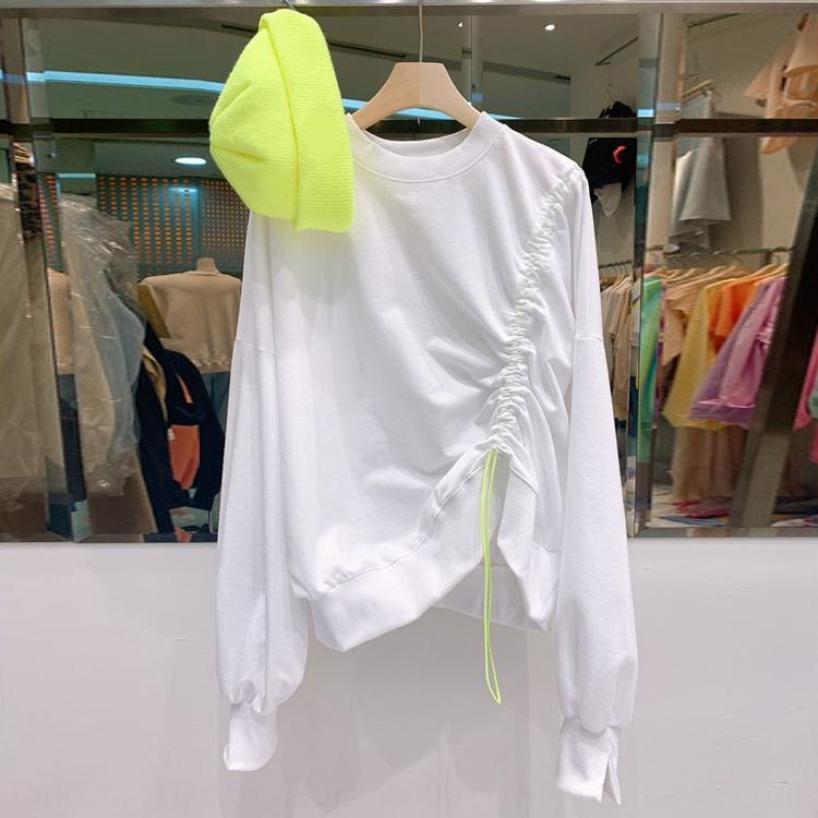 mmpFR coreana Dongdaemun 2020 Outono Nova ins camisola cordão moda lace-up plissado camisola em torno do pescoço de celebridade on-line das mulheres para w