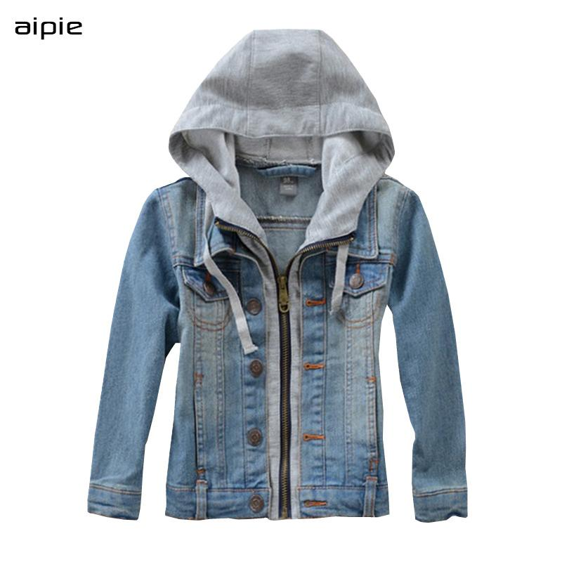 Nova Crianças do menino Denim Jackets Moda com capuz Estilo Cotton crianças denim Coats Roupa Para 3-10 anos Outwear LJ200814