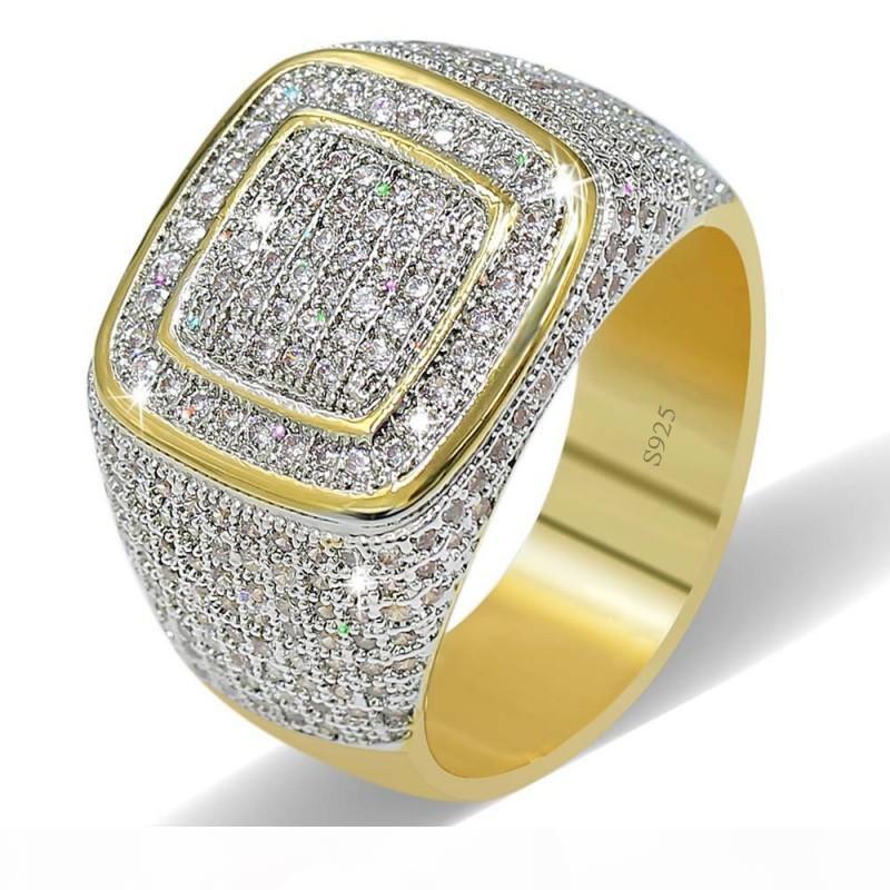Luxo Homens casamento banda anel Yellow Gold Filled Branco Cubic Zirconia moda jóias presente da festa de noivado Para Size8-13 frete grátis