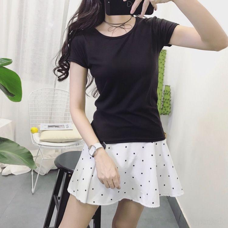 T di base delle donne di estate sottile della camicia della camicia breve maglietta estate bianco puro del R0qfv manica