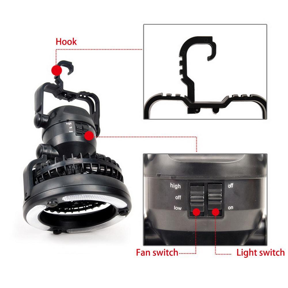 2 em 1 LED portátil Camping Lanterna com 18 LED Lanterna Ventilador de teto para caminhadas ao ar livre Pesca uso Avarias emergência