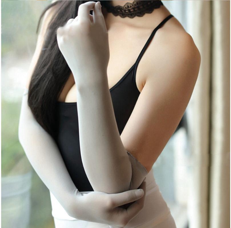 Solide Glatte Sheer Nahtlose Strumpfhosen Handschuhe Frauen Fünf Finger, die lange Handschuh Affordable Luxury Elbow Fäustlinge