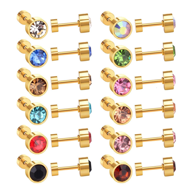 LUXUKISSKIDS 12pairs / Lot Edelstahl-Ohrringe für Frauen Gold / Stahl Runde Ohrringe Mode Schmuck Schraube wieder Ohrring Brincos V191206