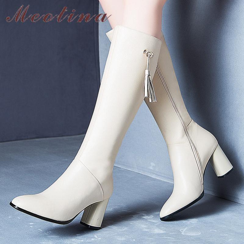 Meotina hiver Cuissardes Femmes naturel en cuir véritable épais talon haut long Bottes Zipper ronde Chaussures Toe Lady Automne 34-39