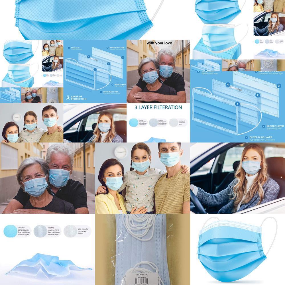 Maschere 500pcs Comfort Cura del viso daily disposable procedurali, 3-ply comodo respirabile maschera di sicurezza (500count) 50pcs / box L392 LAZC3 blu