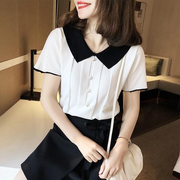 9pSru de punto 2020 del nuevo del verano suelta la camisa de estilo occidental Top T- camiseta hecha punto blanco y negro color a juego cuello de polo corto Slee de las mujeres