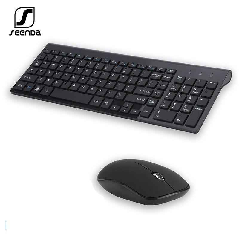 Teclado Mouse Combos Seenda 2.4G Sem Fio Silent Pente Russo / Espanhol Conjunto de Tamanho Full para Notebook Laptop Desktop PC